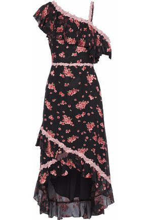 ALICE + OLIVIA JEANS Guipure lace-trimmed floral-print silk-blend chiffon dress