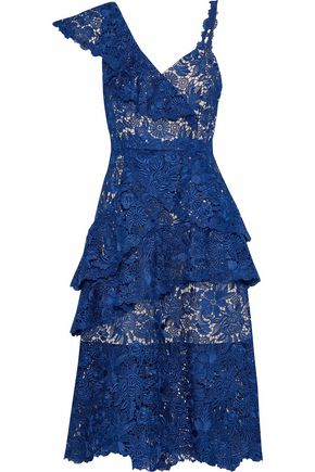 ALICE + OLIVIA Florrie ruffled guipure lace midi dress