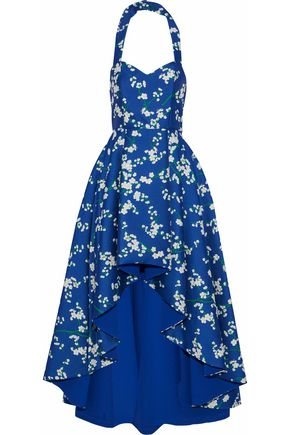 ALICE + OLIVIA Flared pleated floral-jacquard halterneck gown