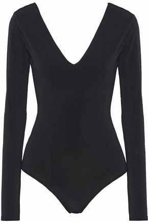 ALICE + OLIVIA JEANS Open-back stretch-crepe bodysuit