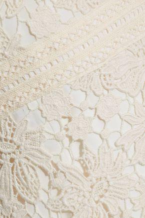 ALICE + OLIVIA Onella fluted cotton guipure lace mini dress