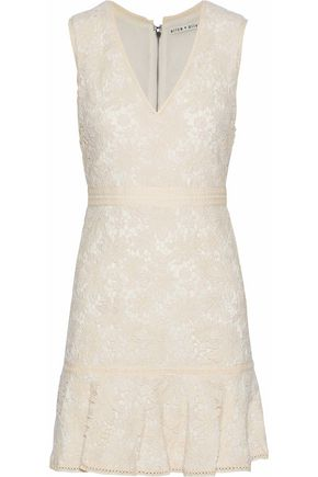 ALICE + OLIVIA JEANS Onella fluted cotton guipure lace mini dress