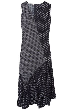 STELLA McCARTNEY Asymmetric patchwork-effect printed silk midi dress