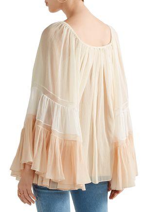 CHLOÉ Off-the-shoulder color-block silk-georgette blouse