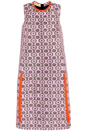MARNI Leather-trimmed metallic jacquard dress