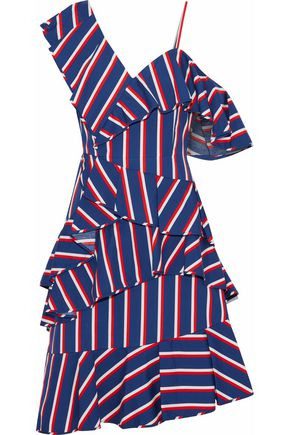 ALICE + OLIVIA Asymmetric ruffled striped cotton-poplin dress