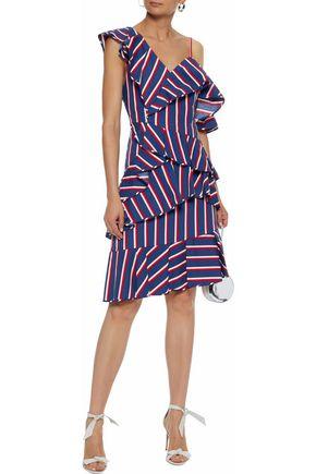 ALICE + OLIVIA Asymmetric ruffled striped cotton-poplin dress
