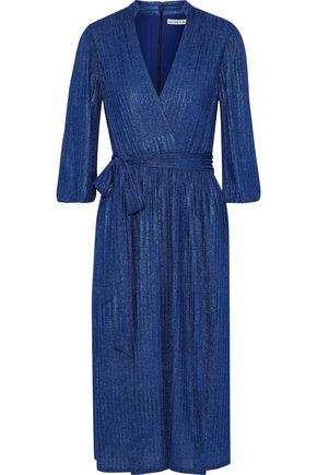 ALICE + OLIVIA Katina wrap-effect metallic ribbed-knit dress