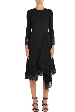 GIVENCHY Asymmetric lace-trimmed cady dress
