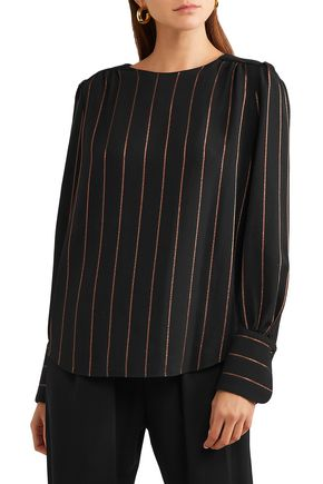 CHLOÉ Metallic striped crepe blouse