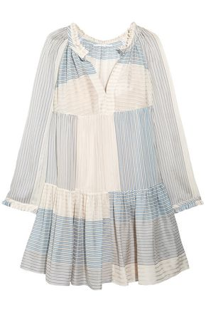 STELLA McCARTNEY Patchwork-effect striped cotton and silk-blend mini dress