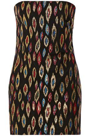 SAINT LAURENT Strapless metallic silk-blend jacquard mini dress