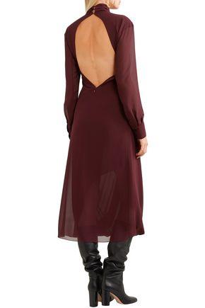 VICTORIA BECKHAM Open-back gathered georgette turtleneck midi dress