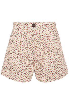 MIU MIU Pleated floral-print denim shorts
