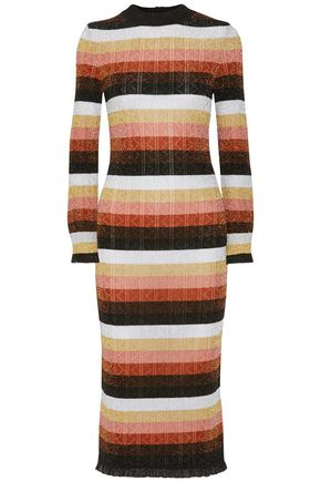 FENDI Striped metallic pointelle-knit wool-blend midi dress