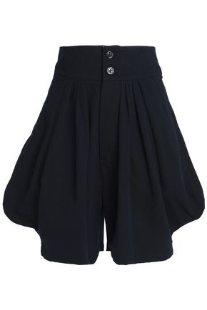 CHLOÉ Pleated cotton and linen-blend twill shorts