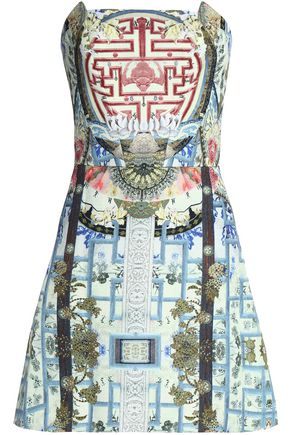 CAMILLA Strapless printed jacquard mini dress