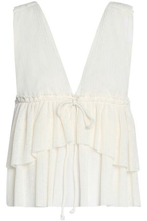 SEE BY CHLOÉ Tiered crinkled-gauze top