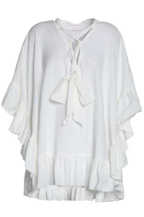 SEE BY CHLOÉ Lace-up ruffled cotton and linen-blend blouse