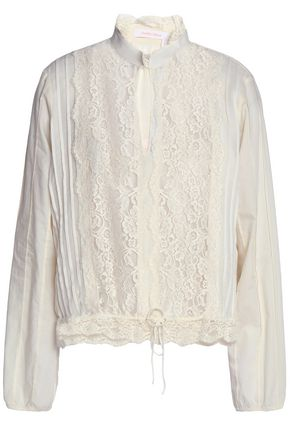 SEE BY CHLOÉ Lace-paneled pintucked crepe de chine blouse