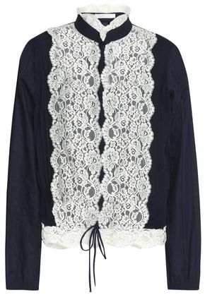 SEE BY CHLOÉ Lace-paneled poplin top
