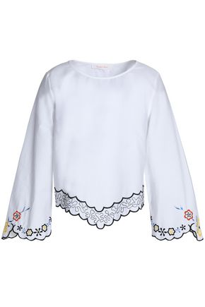 SEE BY CHLOÉ Scalloped embroidered cotton-poplin top