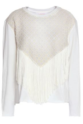 SEE BY CHLOÉ Fringed pointelle-paneled cotton-jersey top