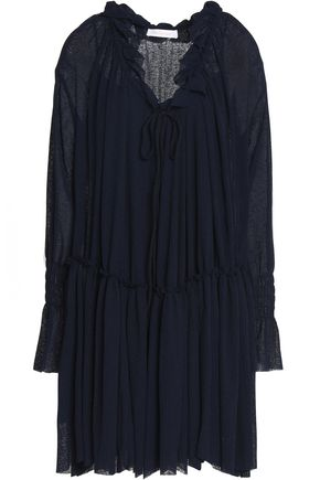 SEE BY CHLOÉ Bow-detailed ruffle-trimmed gauze dress