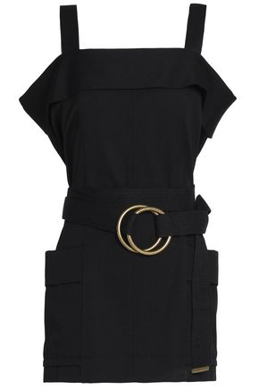 CHLOÉ Belted wool and cotton-blend top