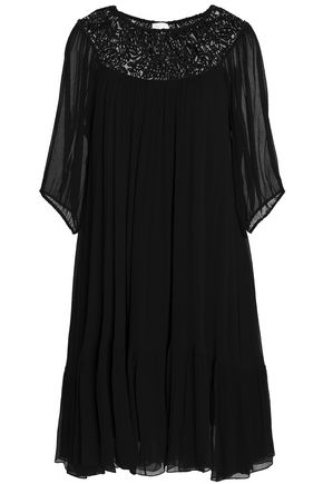 CHLOÉ Embroidered mesh-paneled silk-georgette dress
