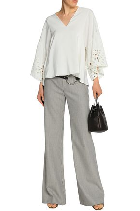 CHLOÉ Broderie anglaise-trimmed silk crepe de chine blouse