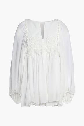 CHLOÉ Lace-appliquéd silk-gauze blouse