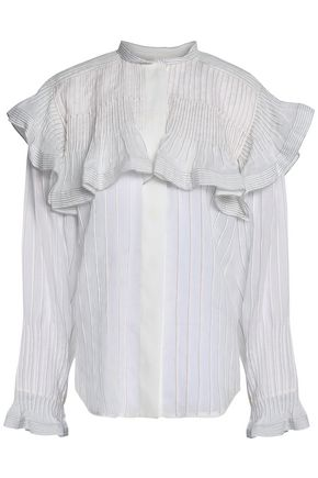 CHLOÉ Ruffle-trimmed pleated ramie shirt