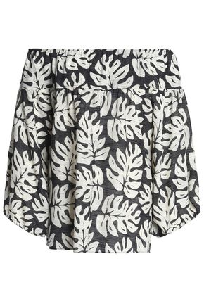 CHLOÉ Off-the-shoulder printed cotton and wool-blend top
