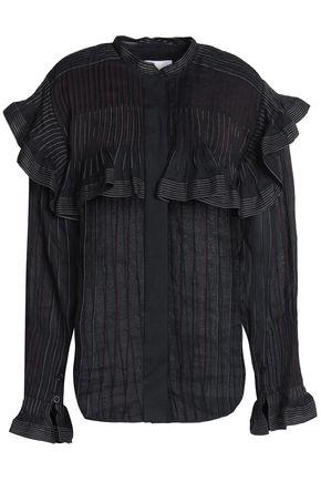 CHLOÉ Ruffle-trimmed pleated ramie shirt