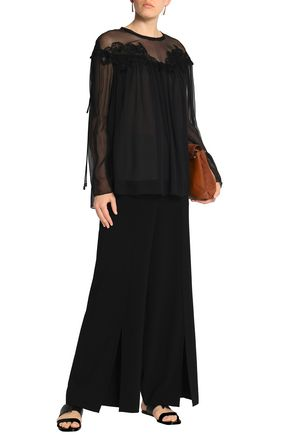 CHLOÉ Guipure lace-trimmed gathered silk-georgette blouse
