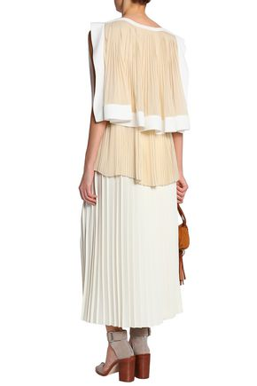 CHLOÉ Layered pleated chiffon top