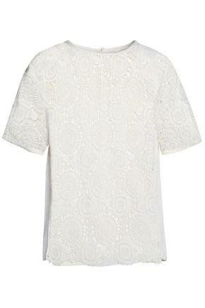 CHLOÉ Guipure lace-paneled cotton-blend top