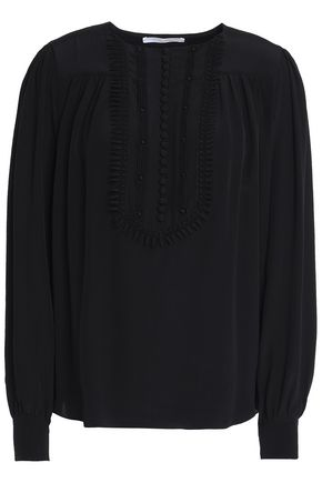 CHLOÉ Lace-trimmed silk crepe de chine blouse