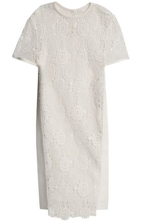 CHLOÉ Guipure lace-paneled cotton-blend dress