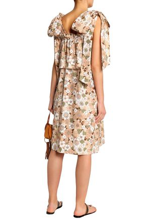 CHLOÉ Bow-detailed ruffled floral-print cotton dress