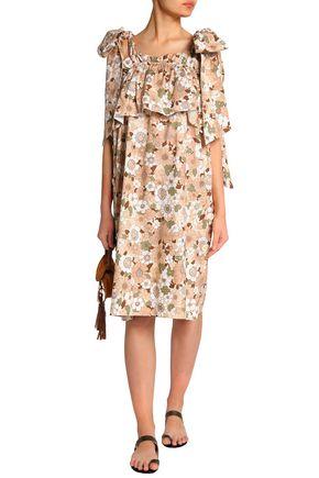 5f2f08c050a2 CHLOÉ Bow-detailed ruffled floral-print cotton dress