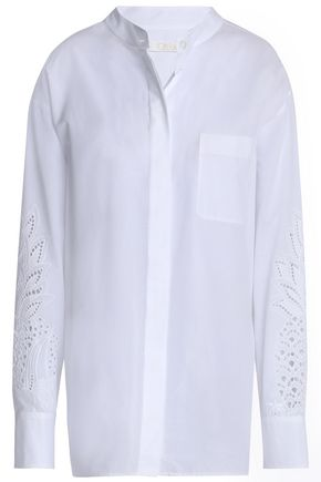 CHLOÉ Broderie anglaise-trimmed cotton shirt