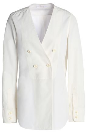 CHLOÉ Double-breasted cotton-poplin shirt