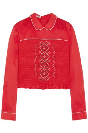 MIU MIU Cropped smocked embroidered poplin blouse