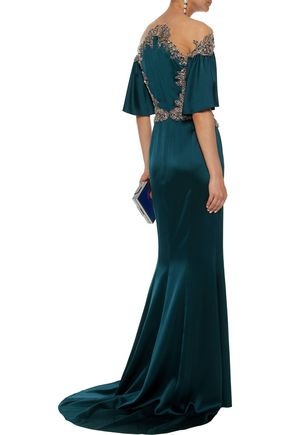 MARCHESA Embellished tulle-paneled satin-crepe gown