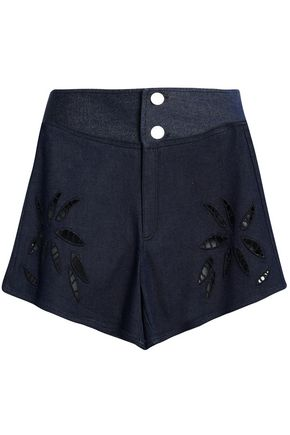 SEE BY CHLOÉ Cutout embroidered denim shorts