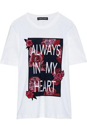 MARKUS LUPFER Appliquéd printed cotton-jersey T-shirt