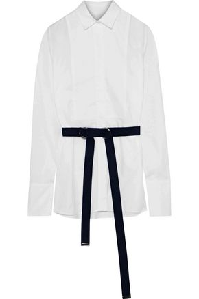 IRIS & INK Cheryl belted cotton-poplin shirt