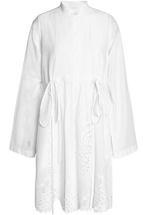 CHLOÉ Broderie anglaise-trimmed cotton mini dress